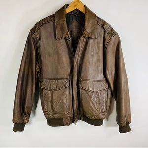 Brown Lambskin Leather Bomber Jacket Sz Medium